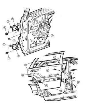 Porta Posteriore Destra Fiat - Codice OEM: K55136700AG 55136700AG 05016922AA 55136700AB 55136700AC 55136700AD 55136700AE 55136700AF 55137064AA - Disegno Tecnico