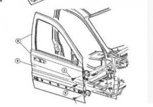 Porta anteriore sinistra per Jeep Cherokee - OEM: K55176891AI 55176891AI 55176890AC 55176891AB 55176891AC 55176891AD 55176891AE - Spaccato tecnico