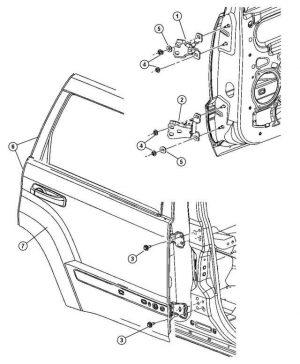 Portiera posteriore sinistra per Jeep Grand Cherokee - OEM Jeep: K55394385AF 55394385AF 55394385AJ - Jeep Grand Cherokee [WH; WK] - Nuovo e originale