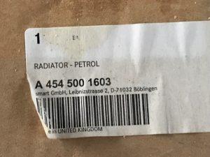 Radiatore Raffreddamento Motore per SMART 454- OEM Smart: A4545001603 - Etichetta codice