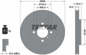 Disco freno anteriore per BMW Z1 Roadster - diametro 260 mm - OEM 34111160915 -34116752352 - 34111160847 - Ferodo DDF182 - Textar 9202650