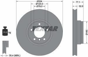Disco freno anteriore per BMW Serie 7 - diametro 334 mm - OEM 34111161372 - Ferodo DDF832 - Textar 92072200