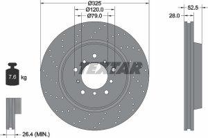 Disco freno anteriore destro per BMW M3 - diametro 325 mm - OEM 34112282802 -34112282302 - 34112282002 - Textar 92183310