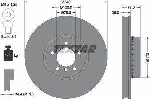Disco freno anteriore per BMW Serie 5 - diametro 348 mm - OEM 34116766871 - 34116779467 - Ferodo DDF1867C-1 - Textar 92182425