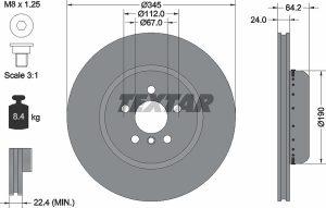 Disco freno anteriore per BMW X3 - diametro 345 mm - OEM 34216860925 - Textar 92288625