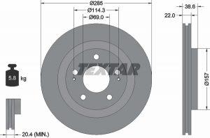 Disco freno anteriore per Mitsubishi Pajero Pinin - diametro 285 mm - OEM MR334996 - Ferodo DDF1399 - CIFAM 800-1099